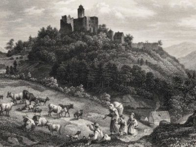 Zamek Grodno na rycynie z XIX w. - Źródło: dolny-slask.org.pl