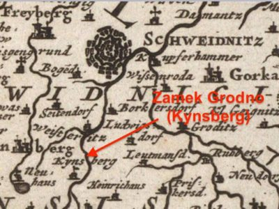 Zamek Grodno (Kynsberg) na mapie z 1680 r.