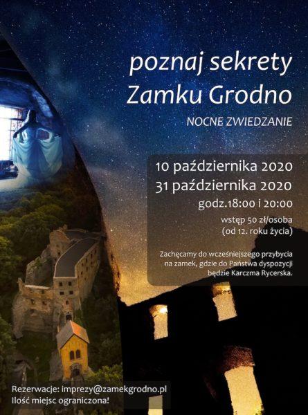 Plakat nowe nocne zwiedzanie Zamku Grodno